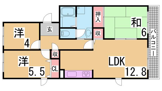 物件番号: 1111234176  神戸市西区学園西町7丁目 3LDK マンション 間取り図
