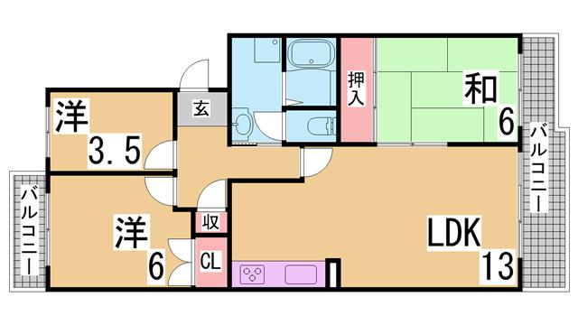 物件番号: 1111234185 アミティ学園西町  神戸市西区学園西町7丁目 3LDK マンション 間取り図
