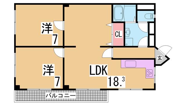 マンション六甲 神戸市北区広陵町1丁目161 2LDK 賃貸マンション ...
