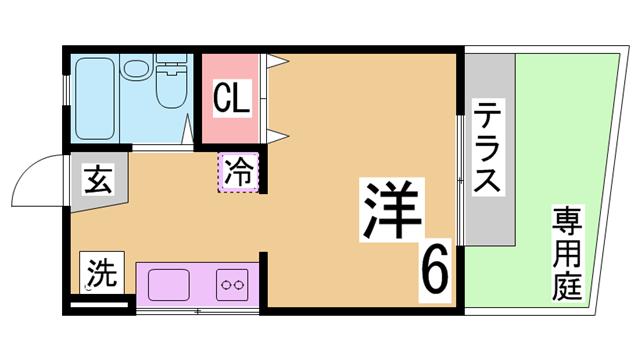物件番号: 1111274514 大久保ハイツ  神戸市須磨区須磨浦通2丁目 1K ハイツ 間取り図