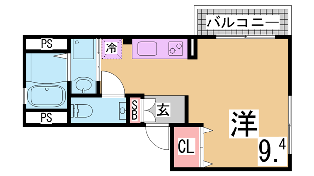 物件番号: 1111286668 エル・メゾン  神戸市兵庫区下沢通3丁目 1K アパート 間取り図