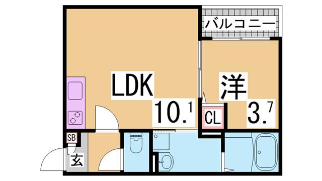 物件番号: 1111296351 Lane須磨  神戸市須磨区小寺町2丁目 1LDK アパート 間取り図