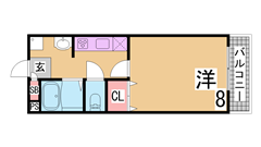 駅近 広々1K システムキッチン 宅配ボックス 3セパ 203の間取