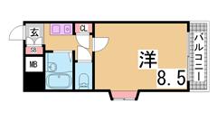 人気のセパレート物件^^ ガスキッチン・南向きの角部屋・広々洋室^^ 204の間取