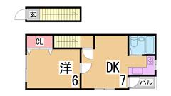 ペットOK^^広々1DK^^二人入居可能^^TVモニターフォン付^^ 201の間取