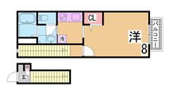 人気の築浅ハイツ^^システムキッチン・シャンプードレッサー等設備充実^^ 201Bの間取