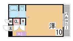 学生さんに人気の広々1K^^ペットOK^^神戸学院性に人気^^ 302の間取
