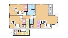 閑静な住宅街です^^オール洋室で人気のカウンターキッチン^^初期定額^^ 201の間取