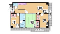 L型バルコニー付3LDK^^敷金0^^交通3WAY可^^眺望・日当良好^^ 501の間取