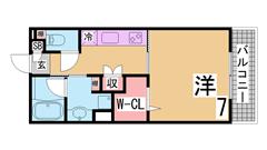 人気のレディースマンション オートロック 24時間セキュリティ ウォークインCL 105の間取