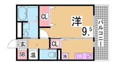 IH二口システムキッチン・三点セパレート・大型収納^^日当たり良好^^ 105の間取