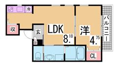 オートロック・宅配BOX・全室角部屋・システムキッチン・追焚等設備充実 201の間取