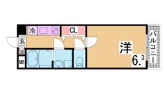 人気の松野通りの築浅マンション 2口システムキッチン 三点セパレート 602の間取