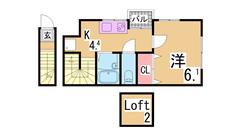 システムキッチン ロフト付き 大型クローゼット TVモニターフォン 人気物件 203の間取