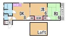 敷金礼金0円^^新築ロフト付デザイナーズ^^インターネット料も無料^^ 105の間取