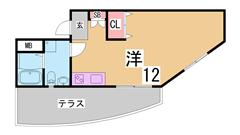 全戸角部屋設計^^大型キッチン 三点セパレート 広々洋室12帖^^ 102の間取