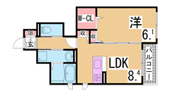 シャイド55(上階からの音を1/2に低減) エコジョーズ 駐車場無料^^ 102の間取