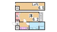 インターネット無料の築浅デザイナーズ 広々ロフト付き システムキッチン 202の間取
