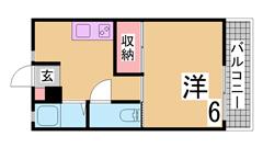 敷金、礼金ゼロ リノベーションマンション 人気の山本通 410の間取