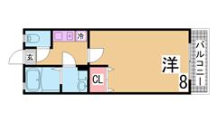 神戸大学病院徒歩2分 インターネット無料 シャンプードレッサー付の3点セパレート 203の間取